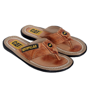 Chinelo Caterpillar De Couro Legítimo Whisky