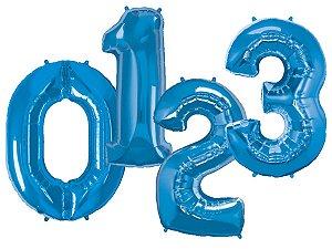 Balões de Número Metalizado - Azul (90cm)