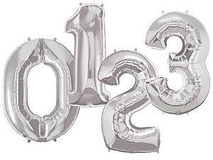Balões de Número Metalizado - Prata (90cm)