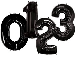 Balões de Número Metalizado - Preto (90cm)