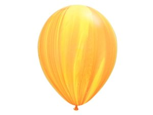 "Balão Marmorizado Amarelo e Laranja - Látex 11"" (Agate - 5 un)"