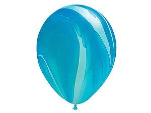 """Balão Marmorizado Azul - Látex 11"""" (Agate - 5 un)"""
