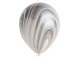 "Balão Marmorizado Preto e Branco - Látex 11"" (Agate - 5 un)"
