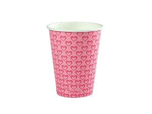 Copo de papel descartável - Rosa (240ml)