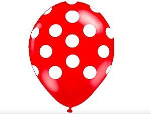"""Balão Látex 10"""" - Poá Vermelho (10 un)"""