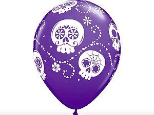 "Balão Halloween Caveira Mexicana 11"" - Roxo"