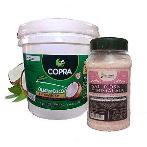 Óleo de Coco Extra Virgem balde 3,2 lts Copra + 1 Kg de Sal Rosa