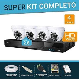 KIT FLEX HD 4 CANAIS COM 4 CÂMERAS DOME FBR COMPLETO