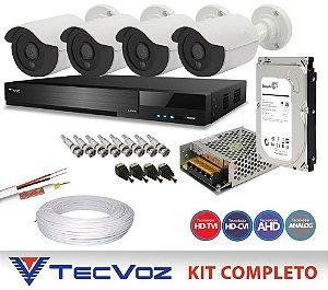 KIT FLEX HD TECVOZ 4 CANAIS COM 4 CÂMERAS 5 EM 1 COMPLETO