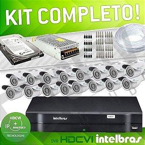 KIT HDCVI COM DVR INTELBRAS - 16 CANAIS - COMPLETO
