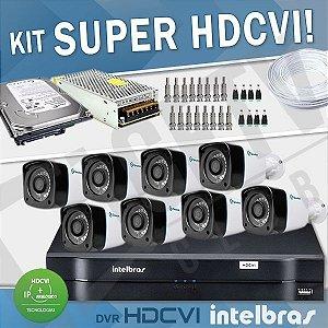 KIT HDCVI COM DVR INTELBRAS 8 CANAIS - COM CÂMERAS SUPER HDCVI