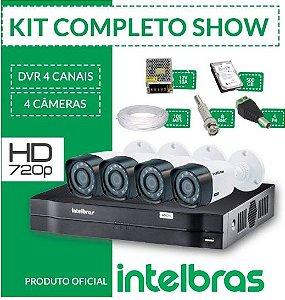 KIT INTELBRAS COMPLETO ALTA DEFINIÇÃO - 4 CÂMERAS - 1 MEGA 720p