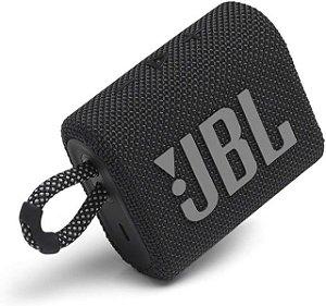 Caixa de Som Portátil JBL GO 3 - Bluetooth, À Prova D'água e Poeira, Black
