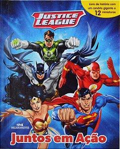 Liga da Justiça - Justice League - Juntos em Ação - Livro com Cenário e Miniaturas