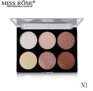 Paleta Glow kit Miss Rôse com 6 Tonalidades N1