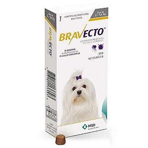 Antipulgas e Carrapatos Bravecto MSD para Cães de 2 a 4,5 kg ( Brinde Bolsa Térmica )
