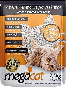 Areia Sanitária Para Gato MegaCat 2,5 Kg + Brinde