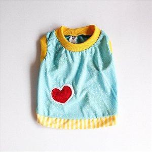 Camiseta Malha Azul/Amarelo Coração