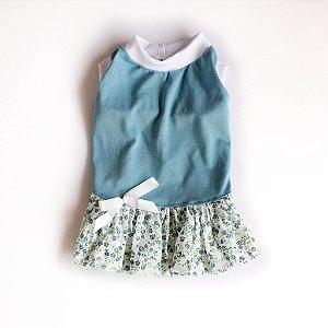 Vestido Malha Azul Florido