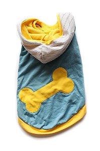 Camiseta Malha Com Capuz Osso Azul