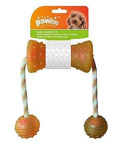 Mordedor para Cães Borracha Resistente Corda com 2 Bolas Pawise
