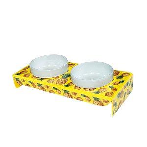 Comedouro em Porcelana Duplo Abacaxi Patudos