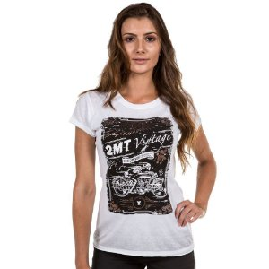 Camiseta 2mt Mmt Flower Skull Caveira Vintage Feminina
