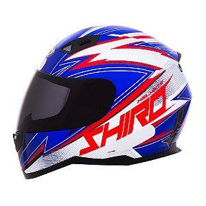 Capacete Shiro Sh881 Atlanta USA - Azul Vermelho e Branco