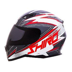Capacete Shiro Sh881 Atlanta - Vermelho Cinza e Branco