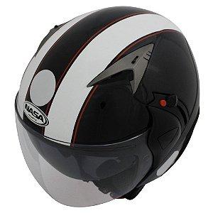 Capacete Nasa Sh-70 Stripes Preto e Branco