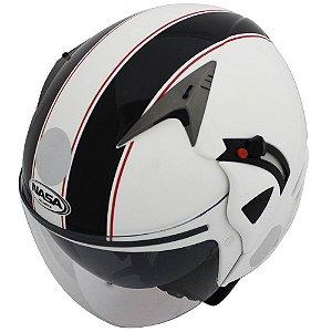 Capacete Nasa Sh-70 Stripes Branco e Preto