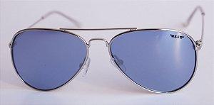 Óculos de Sol aviador Nick - Prata com lente azul clara