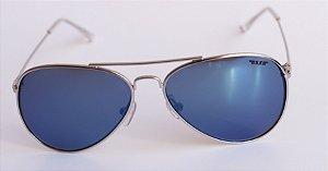Óculos de Sol aviador Nick - Prata com lente azul espelhada