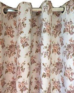 Cortina Blackout de Tecido Estampado 400x250 Floral Rosê - Izaltex