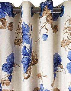 Cortina Charme Impermeável 280x250 Flor Azul - Izaltex