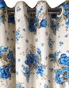 Cortina Charme Impermeável 280x230 Flor Azul - Izaltex