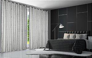 Cortina Blackout de Tecido Elegance 400x230 Jacquard Prata - Izaltex