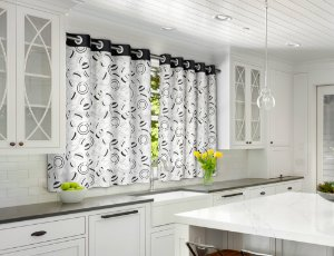 Cortina de Cozinha Amélia 280x150 Dimmer Preto - Izaltex