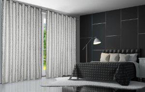 Cortina Blackout de Tecido Elegance 260x180 Jacquard Prata - Izaltex