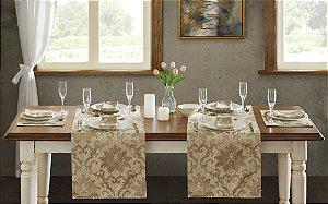 Trilho de Mesa Toscana Jacquard 45x150 Florença Bege - Corttex