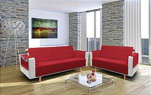 Protetor de Sofá 3 e 2 Lugares Elegance Angatuba Vermelho - Izaltex