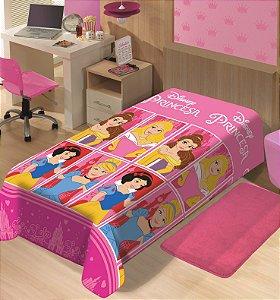 Manta Juvenil Soft Disney Solteiro Princesas Castelos - Jolitex