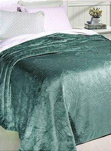 Cobertor Soft Flannel Com Sherpa Vermont Queen Verde Água - Rozac