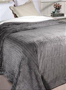 Cobertor Soft Flannel Com Sherpa Vermont Queen Grafite - Rozac