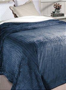 Cobertor Soft Flannel Com Sherpa Vermont Queen Azul - Rozac