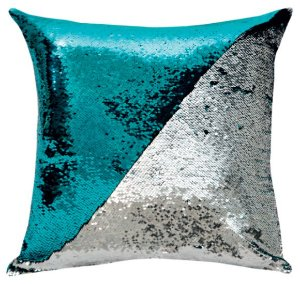 Capa de Almofada Vazia Paetê Wave 43x43 Azul Tiffany e Prata - Rozac