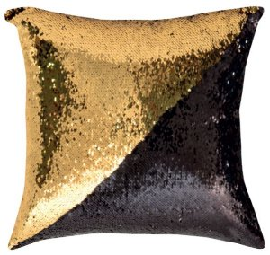 Capa de Almofada Vazia Paetê Wave 43x43 Dourada e Preta - Rozac