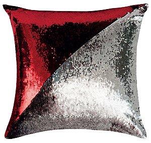 Capa de Almofada Vazia Paetê Wave 43x43 Vermelha e Prata - Rozac