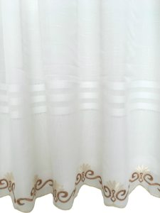 Cortina Victoria Bordada Voil Branco Com Forro 280x230 Bordado Pérola e Dourado - Izaltex