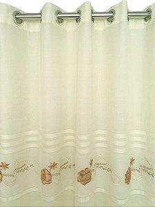 Cortina Victoria Bordada Voil Marfim Com Forro 280x230 Bordado Dourado e Pérola - Izaltex